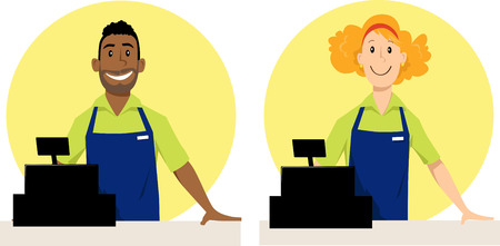 Male and female grocery store cashier characters, EPS 8 vector illustration