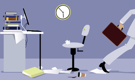 Business person leaving his office early, EPS 8 vector illustration 写真素材 - 98070893