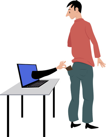 A hand coming out of a computer screen, attempting to steal persons wallet, EPS 8 vector illustration