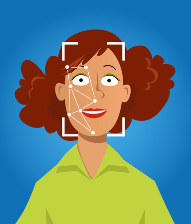 Cartoon female character representing computer face recognition technology, EPS 8 vector illustration