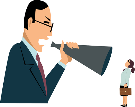 Male manager yelling at a female employee in a bullhorn vector illustration.