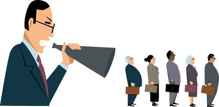 Gestore che urla agli impiegati in un megafono, lo stanno ignorando, illustrazione di vettore di ENV 8
