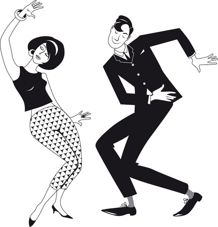 Mod couple dressed in early 1960s fashion dancing the Twist Illustration