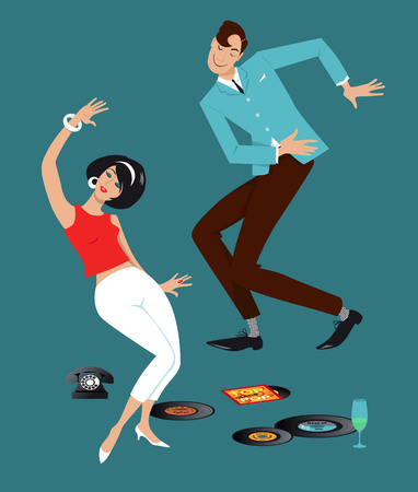 Mod couple dressed in early 1960s fashion dancing the Twist, vinyl records, vintage telephone and a glass on the floor 向量圖像