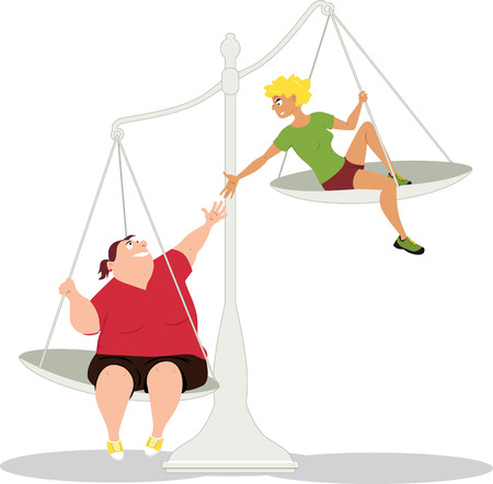 Woman offering a helping hand to her overweight friend, sitting on a balances as a metaphor for losing weight together, EPS 8 vector illustration