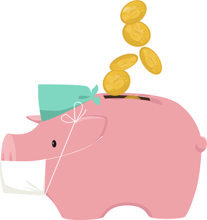 Piggy bank in a scrub cap and surgical mask with coins falling in as a metaphor for investment in health care