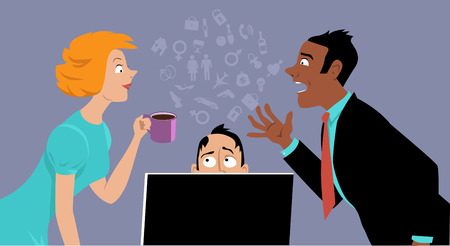 Two coworkers gossiping over the head of another businessman, EPS 8 vector illustration