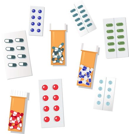 Assorted packed pills, EPS8 vector illustration, isolated on white background