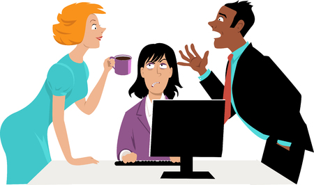Annoyed businesswoman trying to concentrate on work while her two co-workers talking over her head, EPS 8 vector illustration Illustration