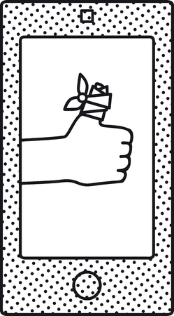 Smart-phone screen with a bandaged thumb up as a metaphor for digital medicine, EPS 8 vector illustration