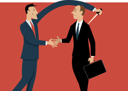 Dishonest businessman shaking hands with a person, stabbing him in a back with another hand, EPS 8 vector illustration Vettoriali