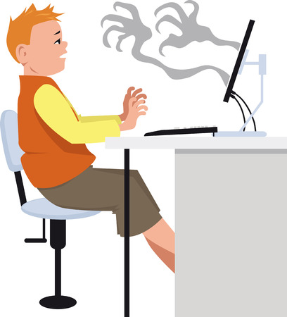Creepy shadow hands coming out of a computer screen reaching to a frightened boy, EPS 8 vector illustration Stock Illustratie