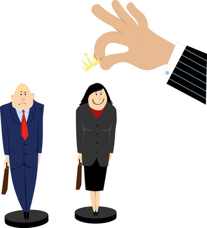 Giant managerial hand putting a crown on a head of a female pawn employee, upsetting a male pawn, EPS 8 vector illustration