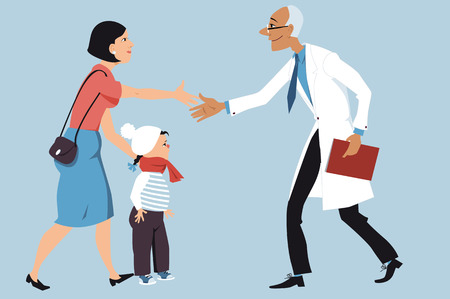 Mother bringing a sick little girl to a pediatrician, shaking hands with a doctor, EPS 8 vector illustration Vettoriali