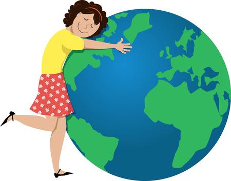 Cartoon girl hugging a globe, EPS 8 vector illustration Illustration