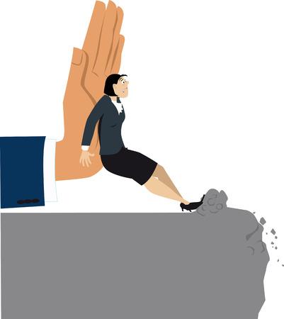 Mano gigante che spinge una donna resistente verso un abisso, illustrazione di vettore di ENV 8 Vettoriali