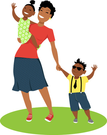 Young mother holding a baby girl on her arms and a little boy by his hand, EPS 8 vector illustration