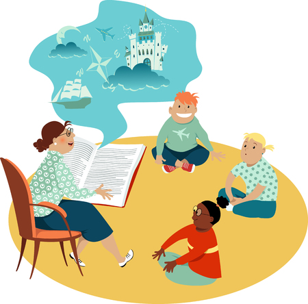 Woman reading a book to a diverse group of children, EPS 8 vector illustration