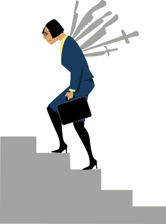 Business woman climbing a career ladder with knives stuck to her back, EPS 8 vector illustration