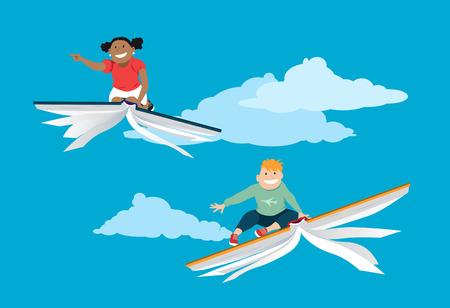 Little kids, boy and girl, flying on books in the sky, vector illustration, EPS 8 Illustration