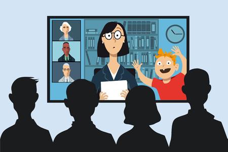 Berufstätige Mutter, die an einer Geschäftsvideokonferenz von ihrem Haus aus teilnimmt, ihr kleiner Sohn unterbricht, EPS 8 Vektorillustration Vektorgrafik
