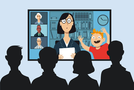 Working mother attending a business video conference from her house, her little son interrupting, EPS 8 vector illustration