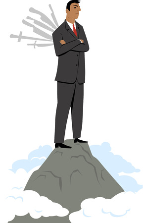 Businessman standing on top of the mountain with knives stuck into his back, EPS 8 vector illustration