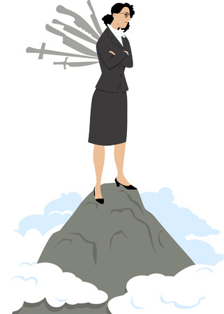 Business woman standing on top of the mountain with knives stuck into her back, EPS 8 vector illustration Ilustração