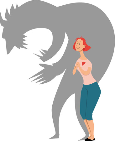 Cartoon character of a sweet loving woman, her shadow showing her personality as a terrifying monster, EPS 8 vector illustration
