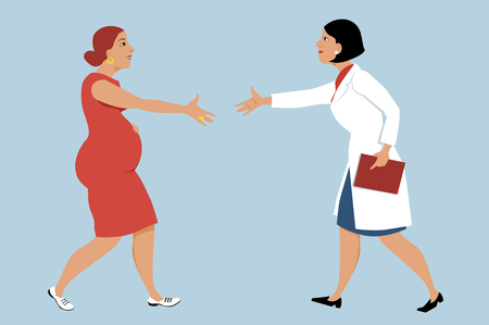 Pregnant woman visiting a female OB-GYN, shaking hands with a doctor, EPS 8 vector illustration  イラスト・ベクター素材