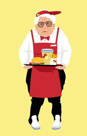 Elderly woman, lacking retirement savings, working minimal wage job at a fast food restaurant, EPS 8 vector illustration
