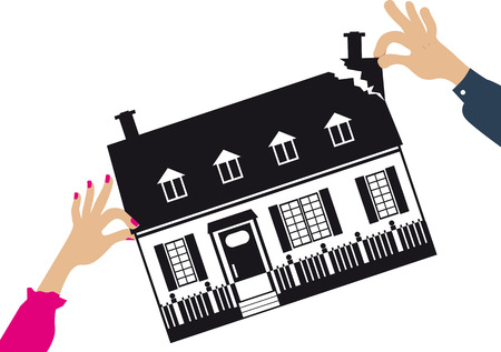 Mani della donna e dell'uomo che fanno a pezzi una casa come metafora per un divorzio e divisione dei beni, illustrazione di vettore.