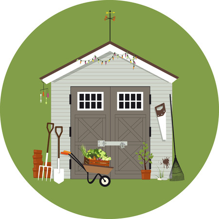 Garden shed with gardening tools around it, vector illustration, no transparencies. Stock Illustratie