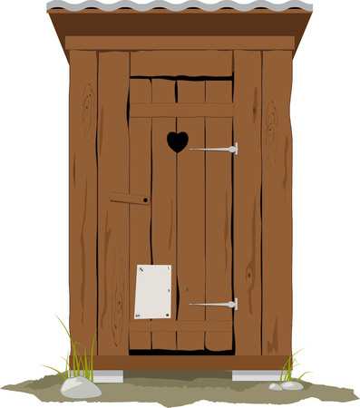 Traditional wooden outhouse, vector illustration, no transparencies. Stock Illustratie