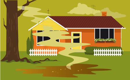 Charco de aguas residuales en un patio trasero de una casa procedente de un tanque séptico fallido, ilustración vectorial, sin transparencias.