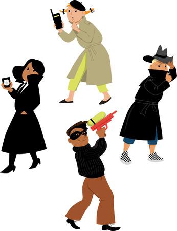 Enfants personnages de dessins animés d'agents secrets isolés sur fond blanc Vecteurs