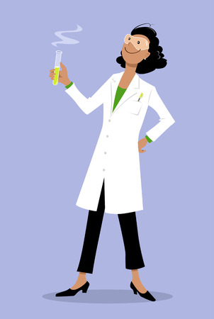 Female scientist in a lab coat splitting a DNA molecule, EPS 8 vector illustration