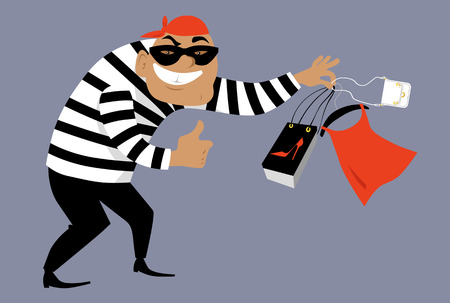 Criminal in a mask selling counterfeit goods, EPS 8 vector illustration Stockfoto - 103777839