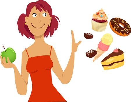Woman on low sugar diet refuses to eat sweets, EPS 8 vector illustration Ilustração