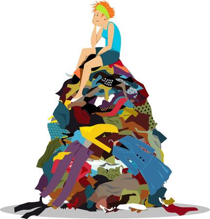Trieste vrouw zittend op een grote stapel nutteloze kleren die niets hebben om te dragen, EPS-8 vectorillustratie