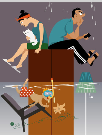 Flooded room in a house with leak in the roof, parents sitting on a closet, kid snorkeling, EPS 8 vector illustration, no transparencies