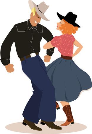 Pareja en un baile de ropa tradicional del país occidental, ilustración vectorial EPS 8