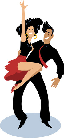 Young dancing couple doing a hip lift, EPS 8 vector illustration