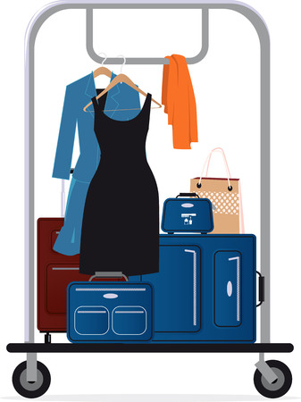 Hotel baggage cart with luggage and clothing on it, EPS 8 vector illustration Ilustração