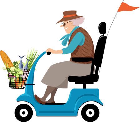 Donna anziana che fa la spesa su uno scooter di mobilità, illustrazione vettoriale EPS 8 Vettoriali