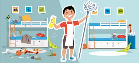 Niño con un trapeador y herramientas de limpieza frente a un dormitorio de niños antes y después de la limpieza, ilustración vectorial EPS