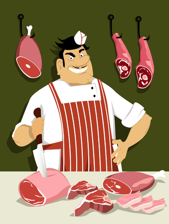 Butcher with a knife in front of a counter with meat on it, EPS 8 vector illustration