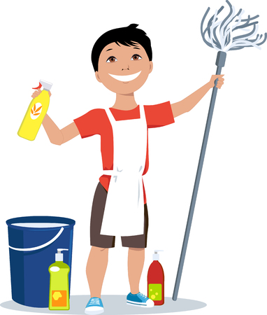 Little boy with a mop and cleaning tools ready to do his chores, EPS 8 vector illustration
