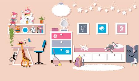 Interior of a cute girls bedroom, flat vector design, EPS 8, no transparencies Stock Illustratie