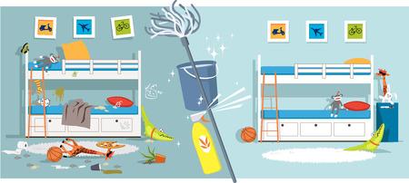 Interior de un dormitorio para niños antes y después de la limpieza dividido por herramientas de limpieza, ilustración vectorial EPS Ilustración de vector